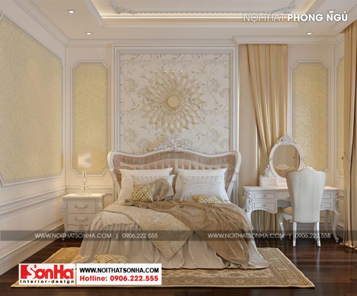 Điểm chung trong thiết kế nội thất phòng ngủ này là thiết kế có chiều sâu