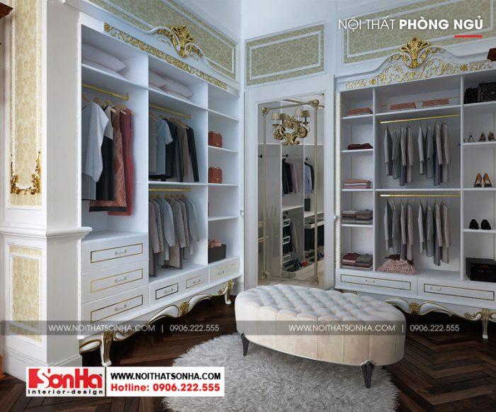 Các phòng ngủ của ngôi biệt thự đều được bố trí phòng thay đồ tiện nghi