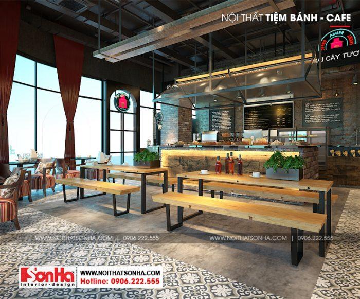 Phong cách trẻ trung được lựa chọn trong thiết kế nội thất tiệm bánh và cafe