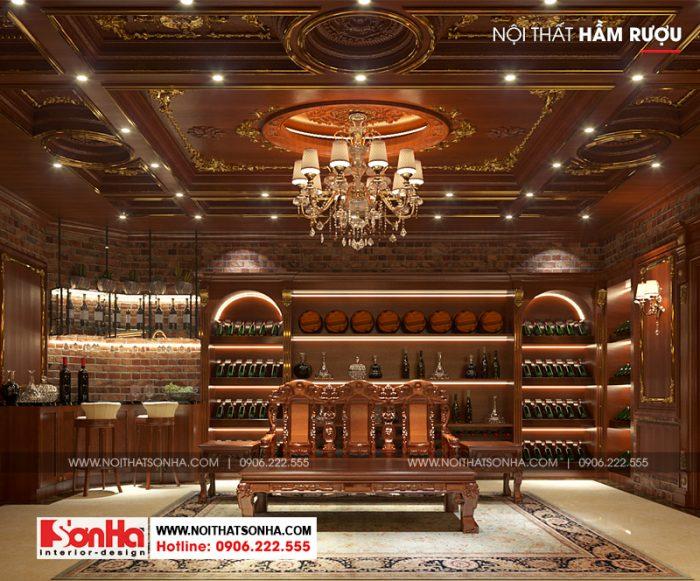 Còn đây là phương án thiết kế hầm rượu trong ngôi biệt thự diện tích nghìn m2