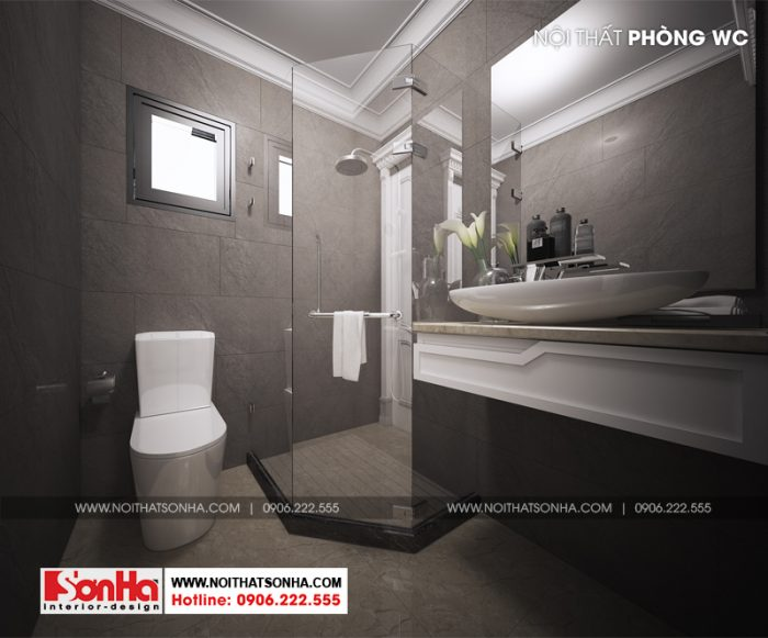 Còn đây là 1 thiết kế nội thất phòng tắm và vệ sinh cao cấp của ngôi biệt thự