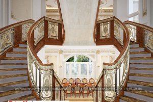 23 Thiết kế nội thất sảnh thang cổ điển biệt thự lâu đài 3 tầng 1 tum tại gia lai