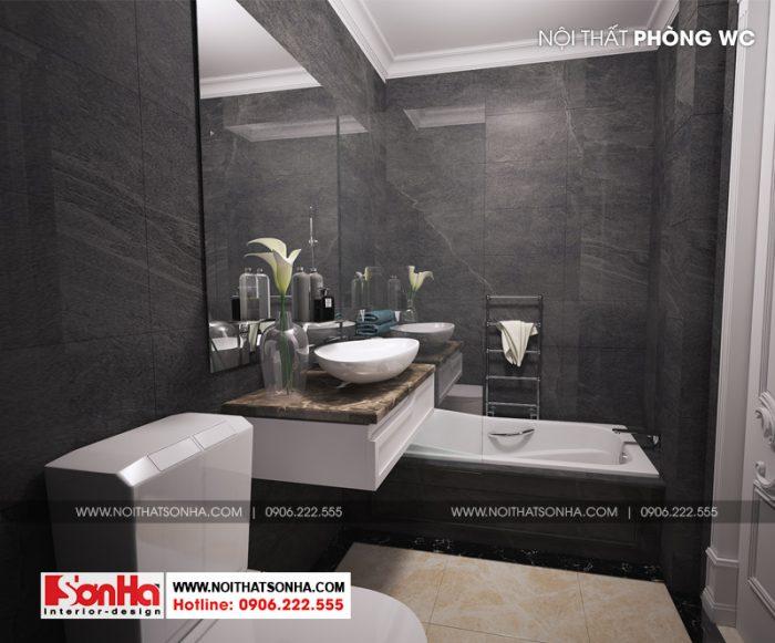 Sử dụng màu trầm khiến không gian phòng tắm đẹp và ấm áp