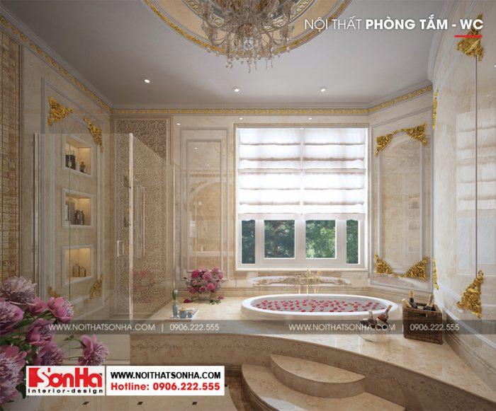Thiết kế phòng tắm và vệ sinh xa hoa tiện nghi của ngôi biệt thự đẳng cấp