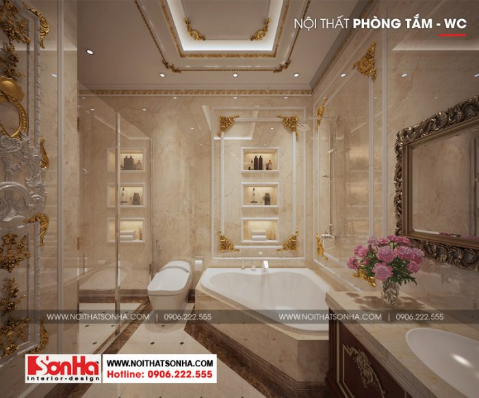 Phòng tắm và vệ sinh biệt thự được đầu tư đồ nội thất cao cấp tiện nghi