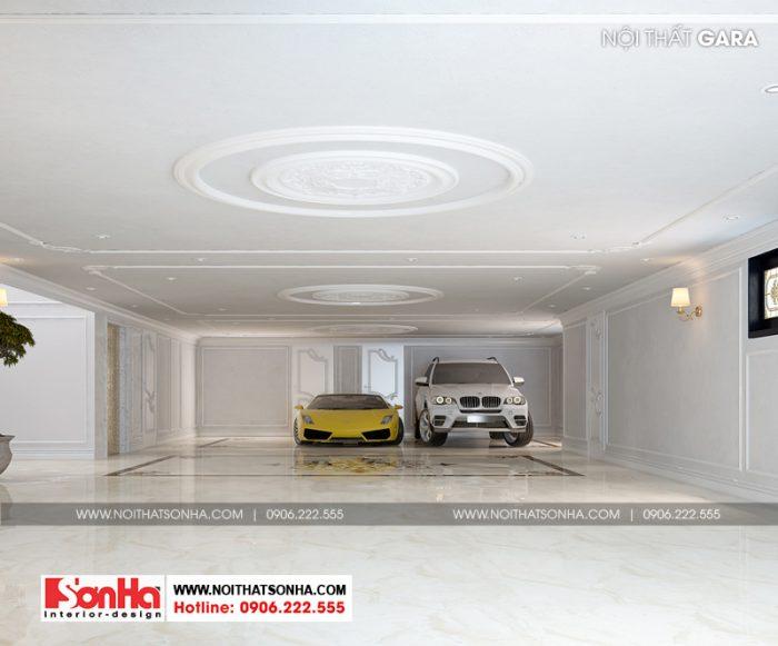 Gara ô tô được bố trí tại tầng hầm diện tích lớn của biệt thự 3 tầng tân cổ điển