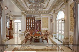 3 Thiết kế nội thất phòng ăn cổ điển biệt thự lâu đài 3 tầng 1 hầm tại gia lai