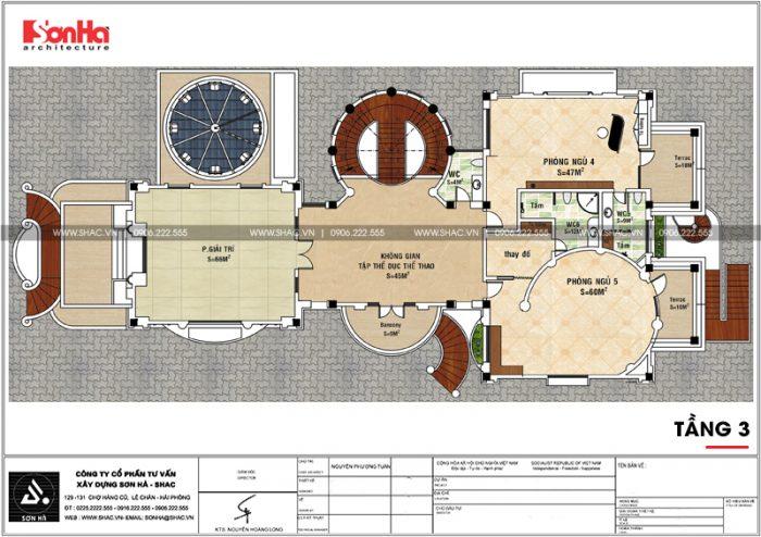 Mặt bằng công năng tầng 3 của biệt thự lâu đài cổ điển 3 tầng