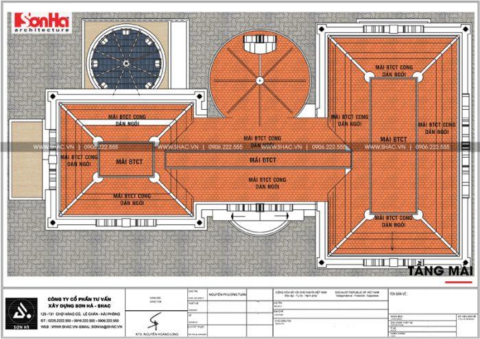 Mặt bằng công năng tầng mái của biệt thự lâu đài cổ điển 3 tầng