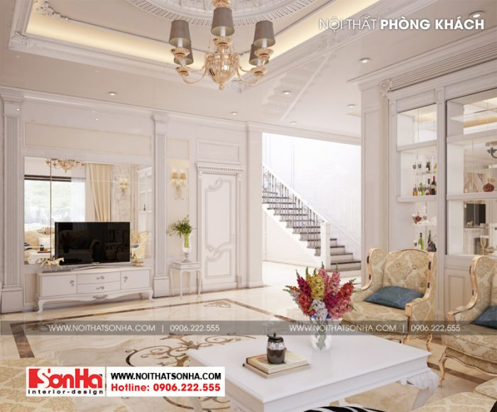 Không gian nội thất biệt hự tân cổ điển được sử dụng màu sắc xuyên suốt