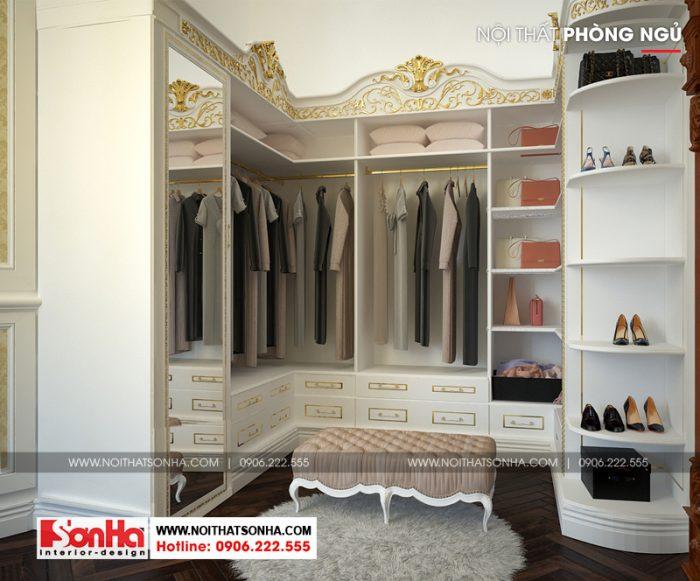 Thiết kế nội thất khu vực thay đồ cũng vô cùng tiện nghi của biệt thự cổ điển châu Âu