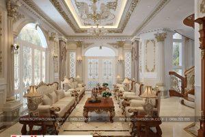 7 Thiết kế nội thất phòng sinh hoạt chung cổ điển biệt thự lâu đài 3 tầng 1 tum tại gia lai
