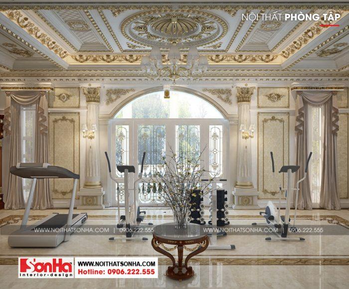 Thiết kế phòng tập phong cách cổ điển xa hoa với vật dụng tiện nghi đẳng cấp