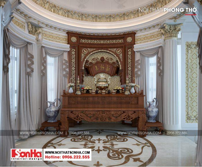 Còn đây là phương án thiết kế nội thất phòng thờ của ngôi biệt thự đẳng cấp này