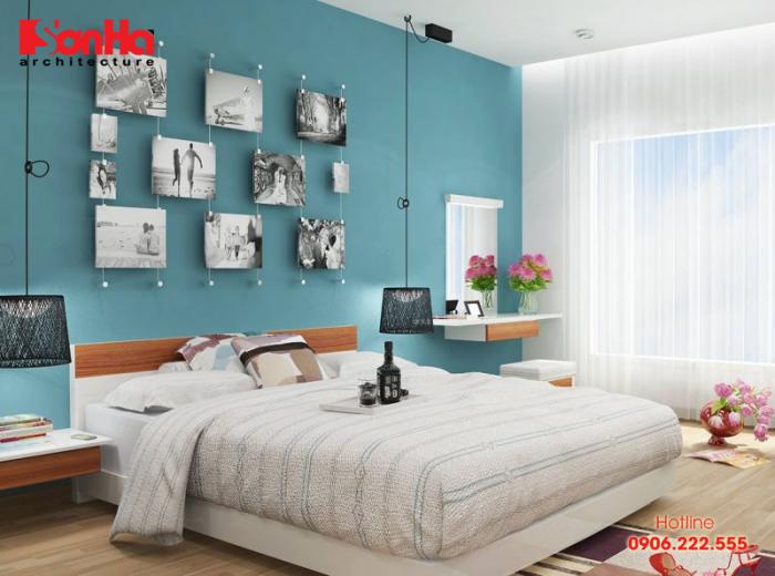 Cách bố trí phòng ngủ phong thủy tuổi Bính Ngọ với màu xanh nước biển