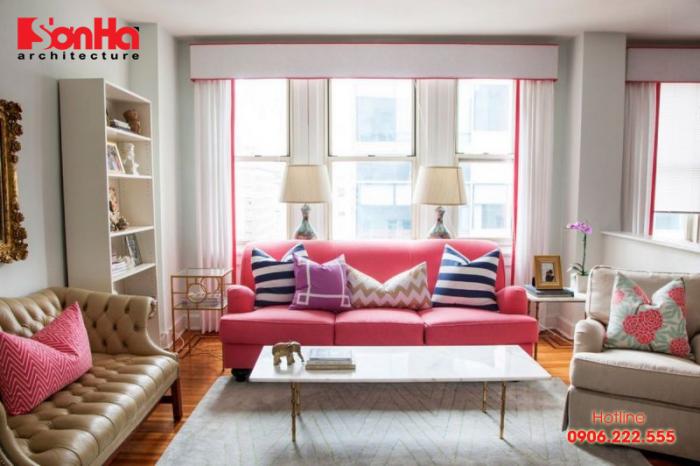 Không gian nội thất phòng khách đẹp với màu sơn hồng phong thủy mệnh Hỏa