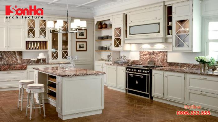 Không gian phòng bếp ăn phong cách tân cổ điển sang trọng đẹp mắt
