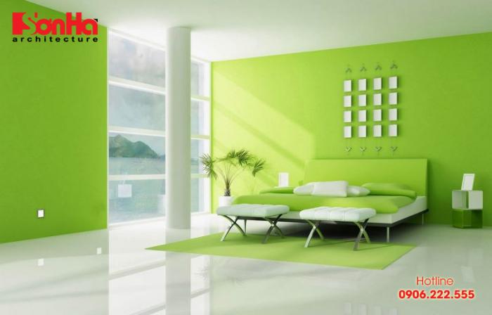 Lạ mắt và gần gũi với trang trí nội thất phòng ngủ màu xanh lá