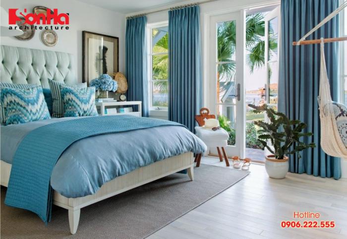 Mãn nhãn với thiết kế phòng ngủ màu xanh dương phong thủy cho mệnh Thủy