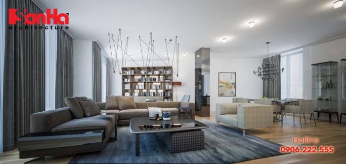 Mẫu thiết kế nội thất phòng khách sử dụng màu sắc phong thủy tuổi Mậu Thân