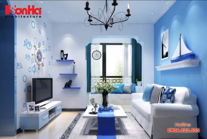 Màu xanh da trời là màu tốt nhất cho nội thất phòng khách tuổi Giáp Thân