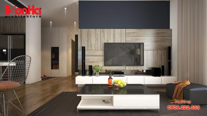 Nội thất gỗ bố trí đẹp tạo nên sự ấm cúng của phòng khách căn hộ