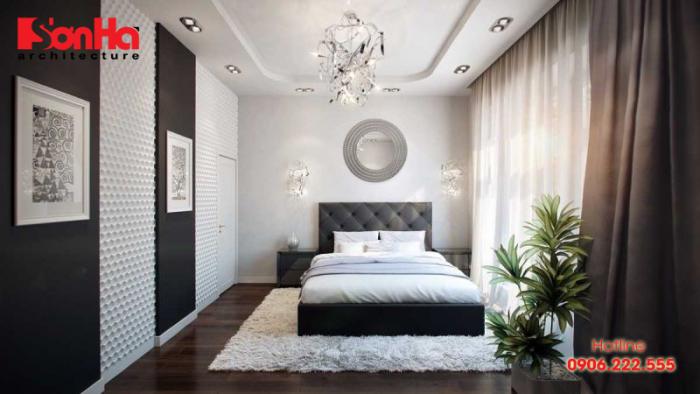 Phòng ngủ ấn tượng với sự kết hợp của hai gam màu đen trắng