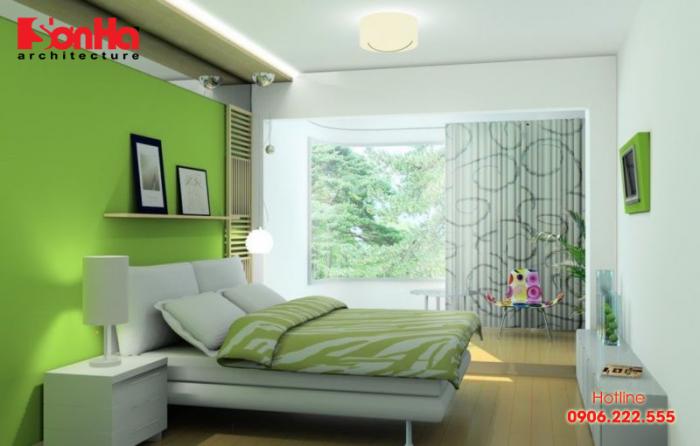 Phương án thiết kế phòng ngủ đẹp với màu xanh lá cây điển hình xu hướng mới