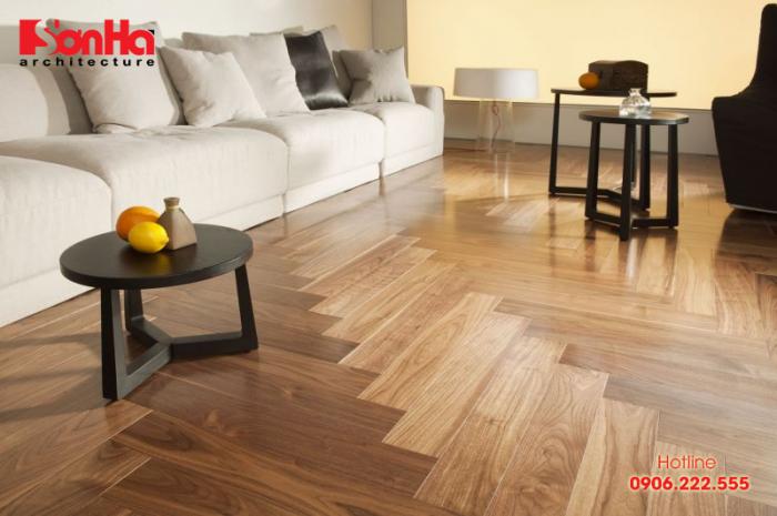 Sàn gỗ được yêu thích trong trang trí nội thất phòng khách và phòng ngủ