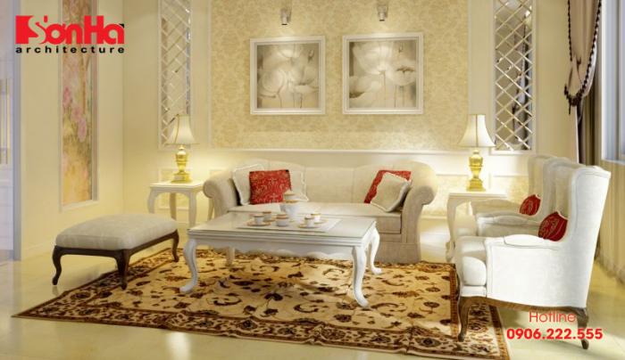 Thiết kế không gian phòng khách đẹp đơn giản phong cách tân cổ điển