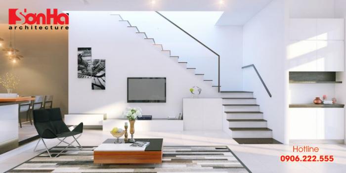 Thiết kế nội thất nhà phố đẹp với cầu thang bố trí phong thủy và thẩm mỹ
