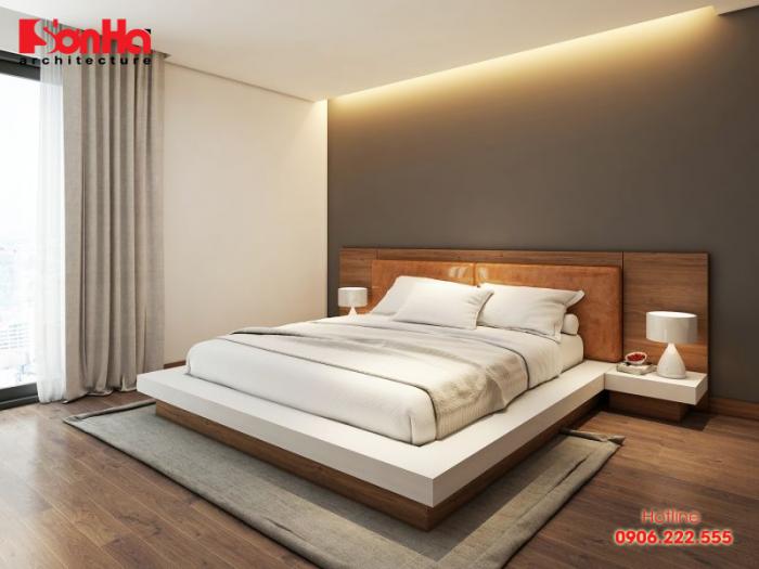 Thiết kế nội thất phòng ngủ ấm cúng với giường gỗ công nghiệp
