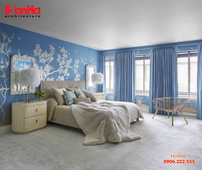 Thiết kế nội thất phòng ngủ đẹp với màu xanh dương cho gia chủ tuổi Canh Dần