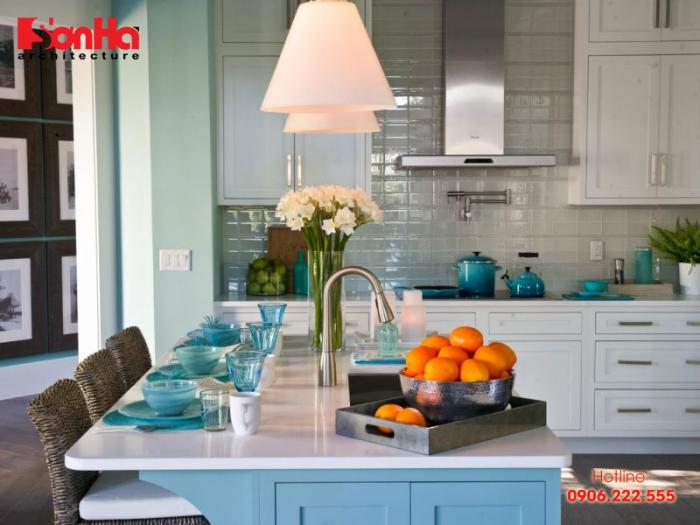 Xanh ngọc cũng là màu sơn lý tưởng để thiết kế nội thất phòng bếp ăn