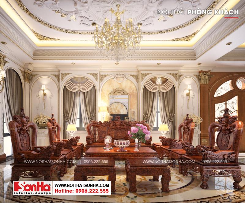 1 Mẫu nội thất phòng khách 1 biệt thự tân cổ điển đẹp khu đô thị vinhomes hải phòng sh btp 0125