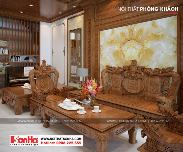 Thiết kế nội thất phòng khách nhà phố đẹp với đồ nội thất gỗ tự nhiên