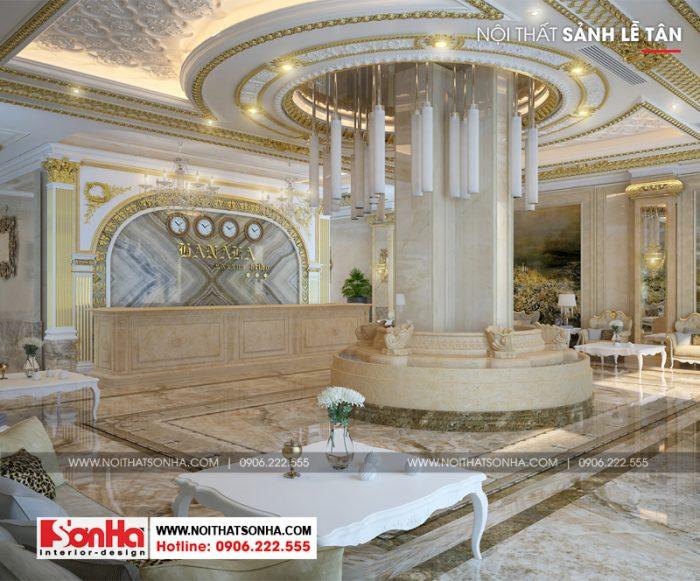 Thiết kế nội thất sảnh khách sạn 3 sao cổ điển ấn tượng với đường nét tinh tế
