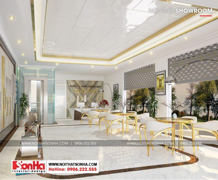 Không gian nội thất showroom tại tầng 1 được thiết kế điểm thêm nét cổ điển