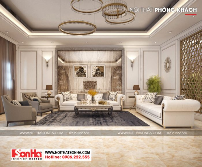 Mẫu thiết kế nội thất phòng khách sang trọng tầng 2 phong cách cổ điển