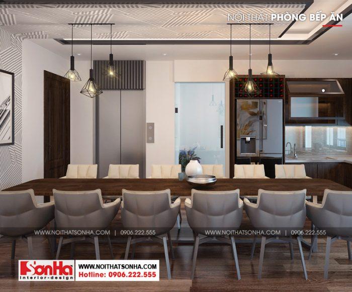 Thiết kế nhà bếp đẹp với nội thất gỗ cùng bộ bàn ăn được bố trí hài hòa