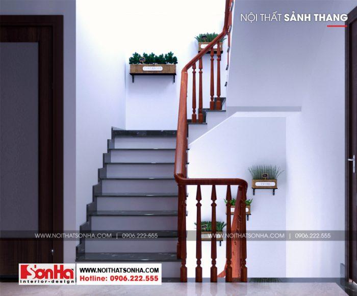 Thiết kế sảnh thang nhà ống 4 tầng phong cách tân cổ điển tại Hải Phòng