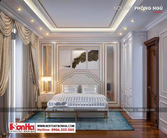 Sàn gỗ được sử dụng trong hầu hết phòng ngủ của ngôi biệt thự 3 tầng này