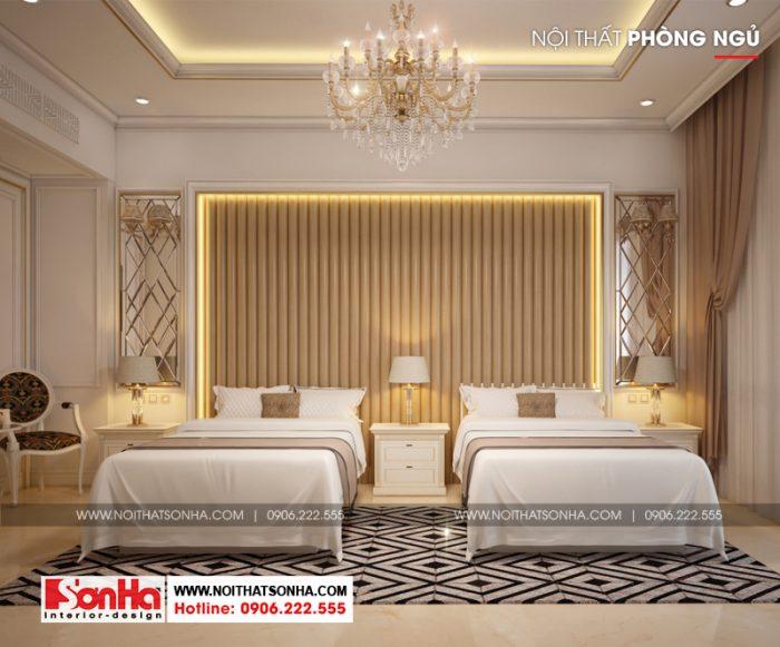 Mẫu thiết kế phòng ngủ khách sạn 2 giường đôi nổi bật và ấn tượng