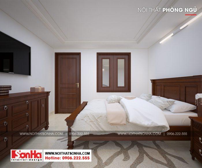 Mẫu thiết kế phòng ngủ đẹp mắt tuy giản dị với nội thất gỗ cho biệt thự