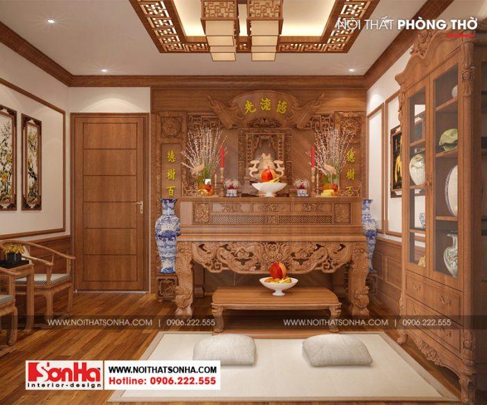 Mẫu thiết kế nội thất phòng thờ nhà phố cổ điển Pháp với đồ nội thất gỗ