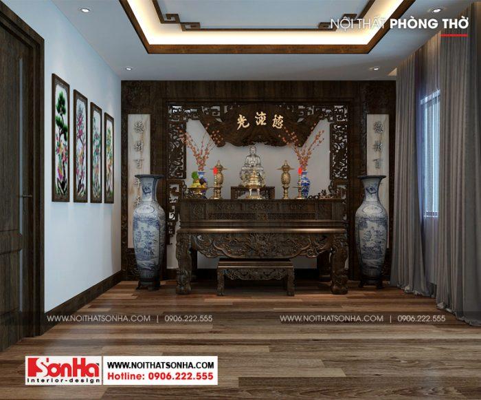 Thiết kế nội thất phòng thờ truyền thống và tôn nghiêm trên tầng cao