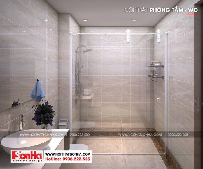 Thiết kế nội thất phòng tắm và vệ sinh nhà phố đẹp với vật liệu cao cấp