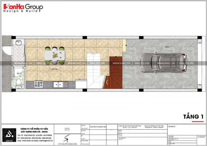 Mặt bằng công năng tầng 1 nhà phố tân cổ điển 4 tầng tại Hải Phòng