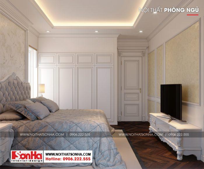 Gam màu xám cũng được tận dụng trong thiết kế phòng ngủ biệt thự đẹp