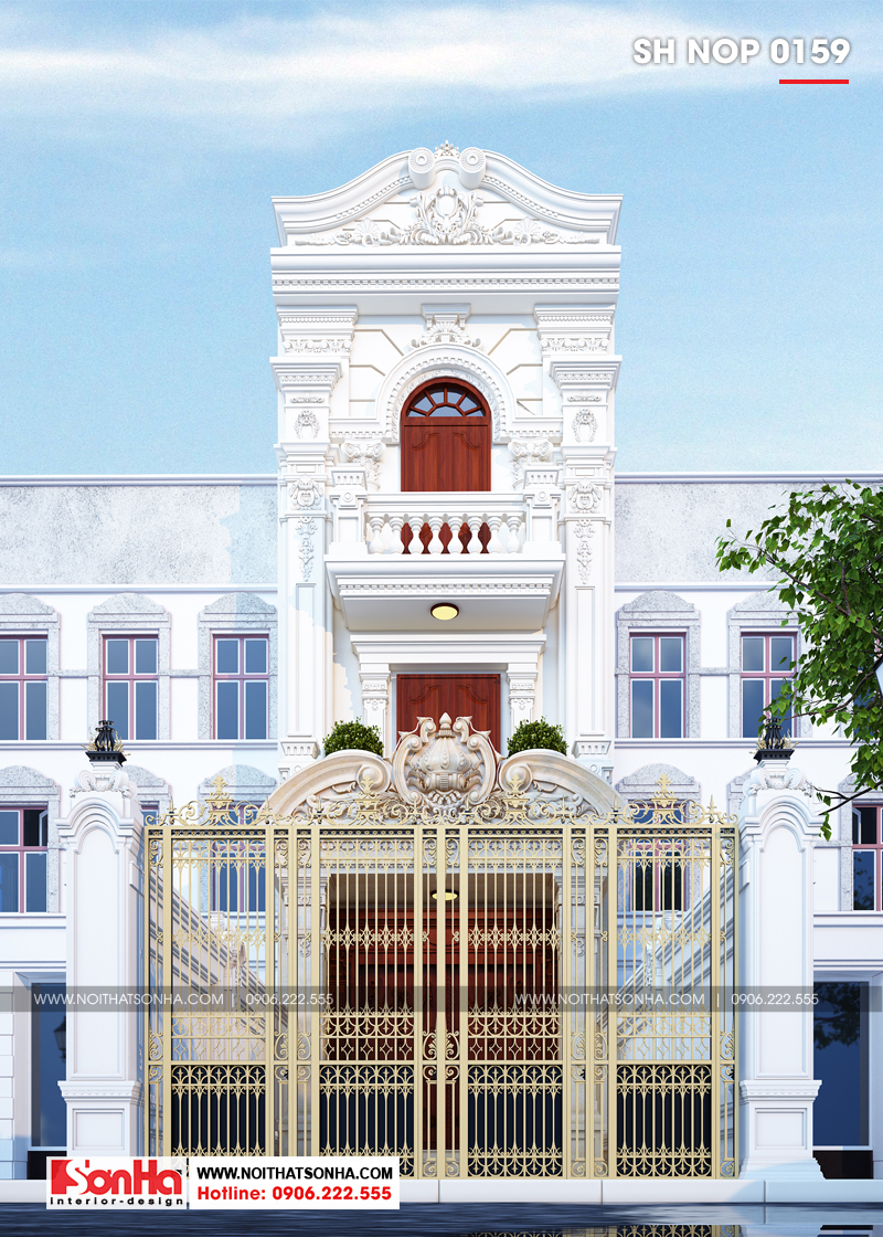 Kiến trúc nhà phố kiểu Pháp 3 tầng thiết kế đẹp tại Hải Phòng